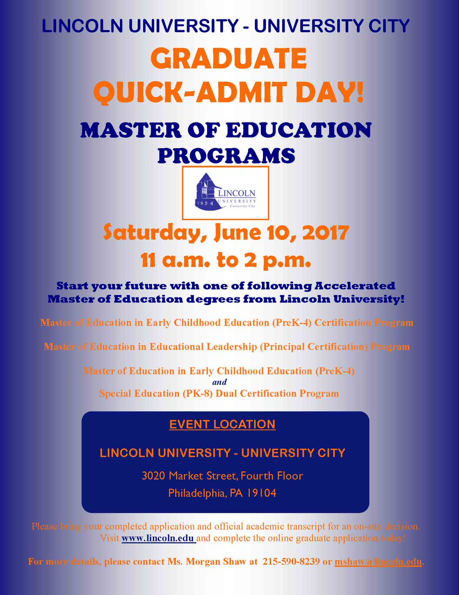 Lincoln University On Twitter Graduate Quick Admit Day For Master