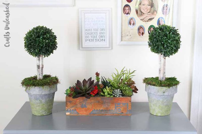 DIY Pot Topiary Project With Faux Concrete
