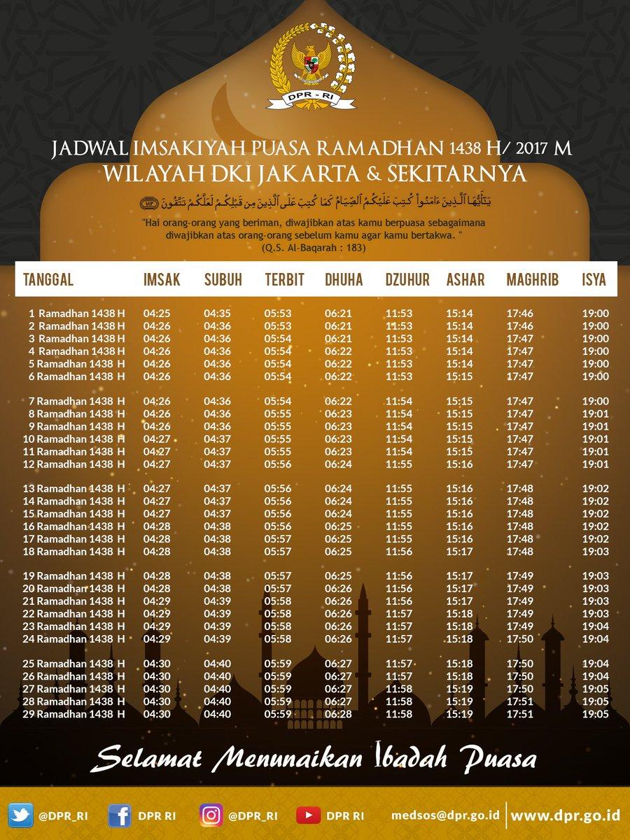 Jadwal Imsakiyah #Puasa #Ramadhan 1438 H/2017 M untuk Wilayah DKI Jaka...