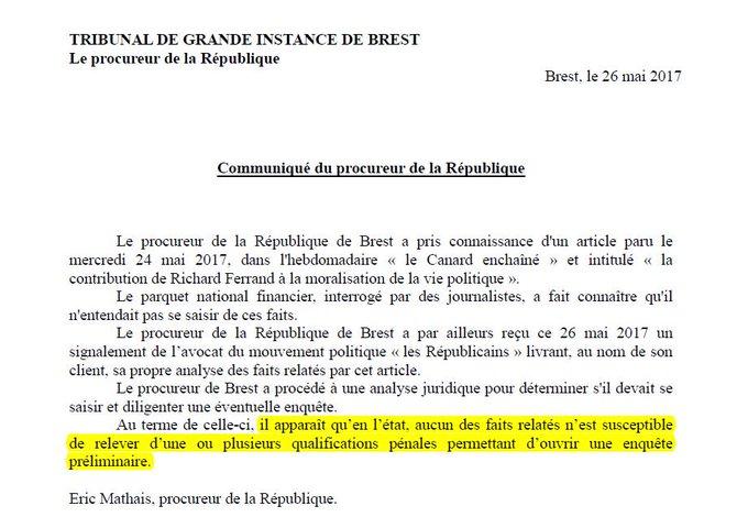 Richard Ferrand épinglé par le Canard enchaîné : rien ne permet d'ouvrir une enquête préliminaire (parquet de Brest)