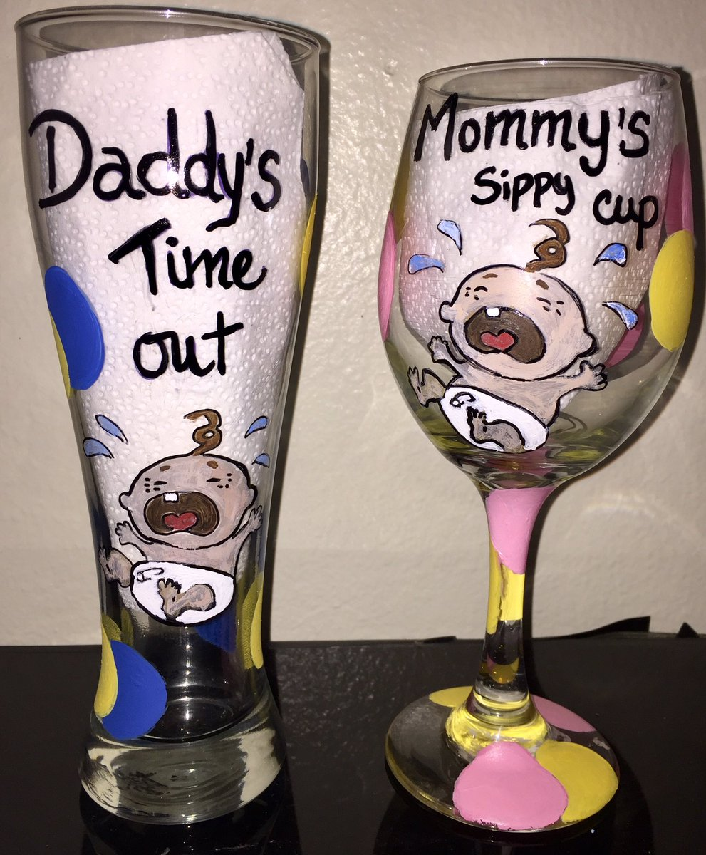 Babyshower ideas had so much fun making them. #bysilvy #babyshower #giftsideas #handpainted #beerglass #wineglass<br>http://pic.twitter.com/LbkDtwDlfZ