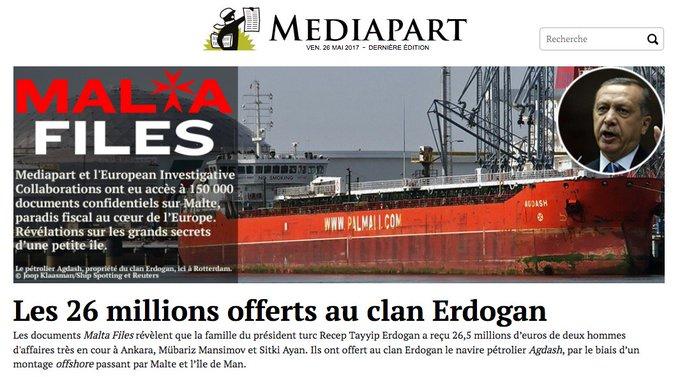 Corruption: le clan Erdogan perçoit 26 millions € de pot-de-vins dans les paradis fiscaux. https://t.co/JL0AzLl7iF