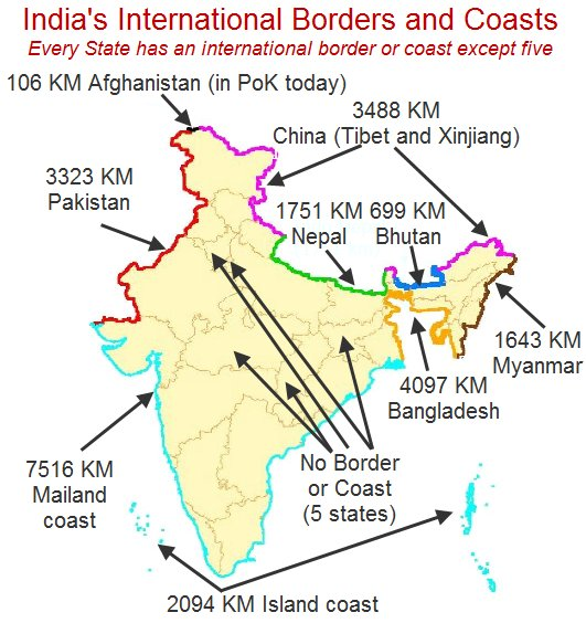 "Kiran Kumar S on Twitter: ""Using Govt of India info, I have marked in this map, all the lengths of India's international borders and coast lines. Use it where needed.… https://t.co/gUE43fhOXY"""