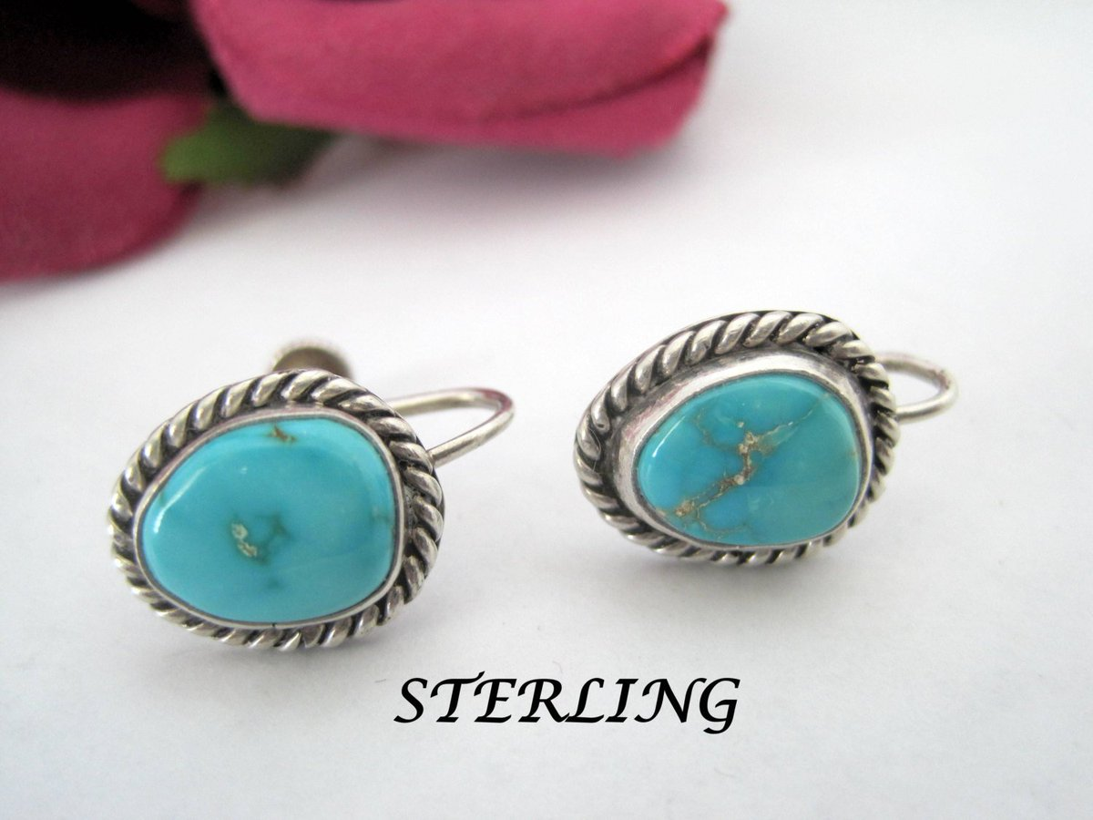 Native American Earrings -  Sterling Turquoise - 40&#39;s  Screw Backs  https:// seethis.co/kdMRY/  &nbsp;   #vintage #retro <br>http://pic.twitter.com/wMM5NL2Eka