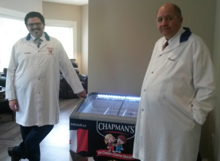 $1million donors David Chapman CEO, and VP Ashley Chapman of #Chapmans  Ice Cream will supply the new hospice in #OwenSound with ice cream <br>http://pic.twitter.com/caZnLM5eFZ