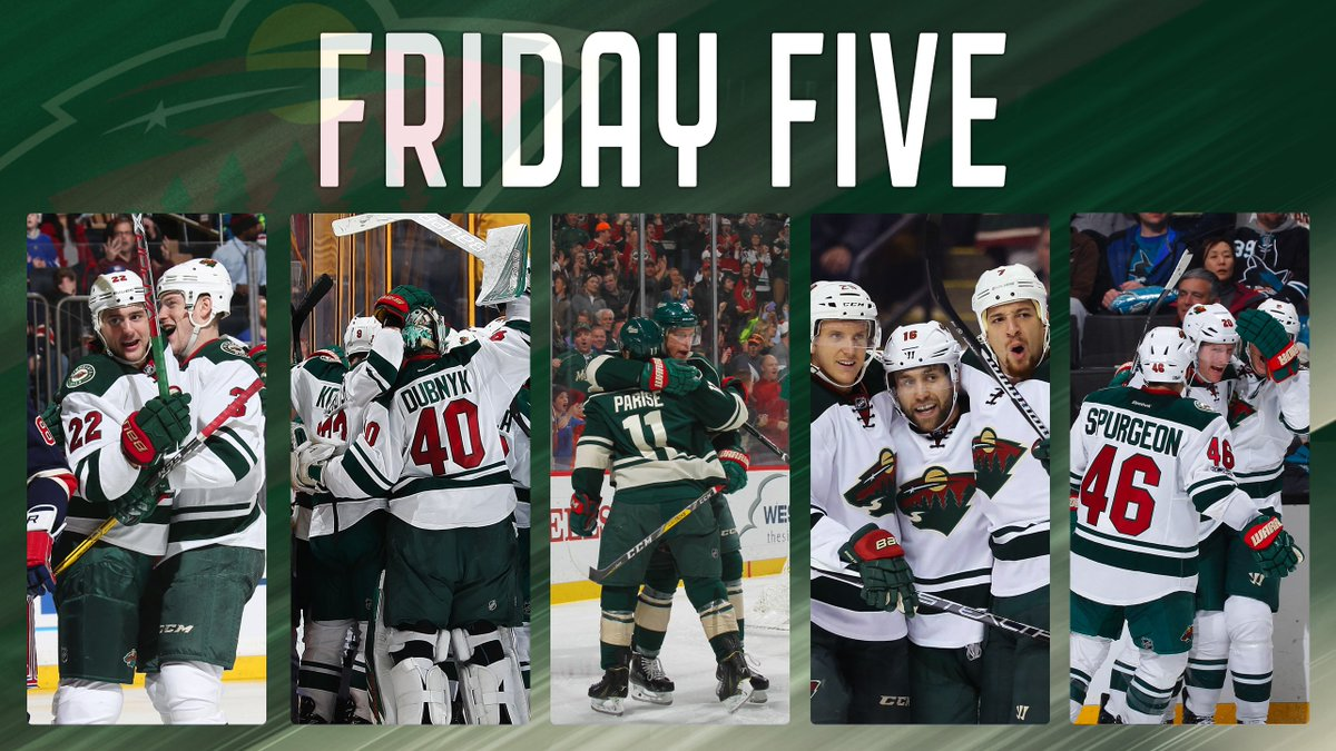 #mnwild had 49 wins in 2016-17. Wild.com chose 🖐️ of the best in today's Friday Five → ow.ly/zhz230c4F1l