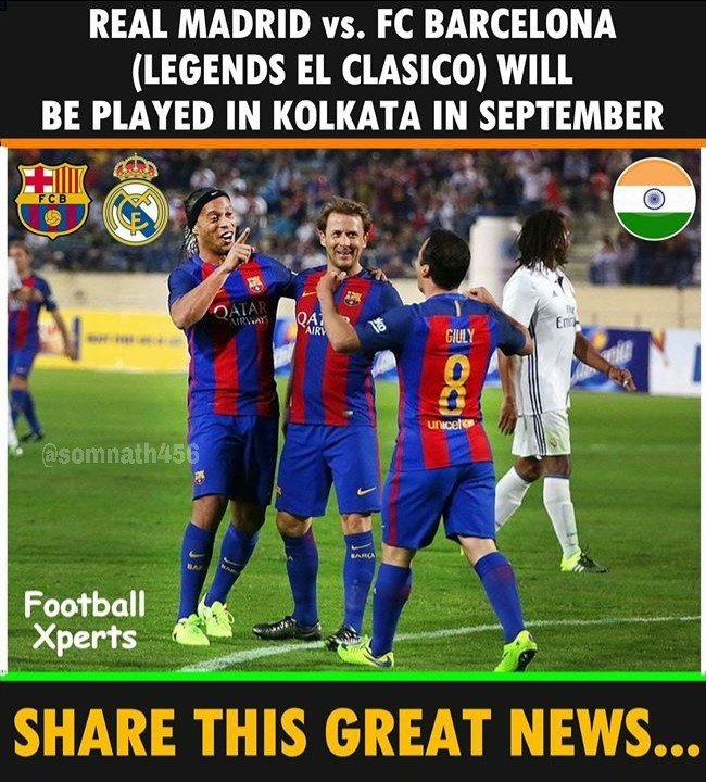OMG  What a great news. #Kolkata Football Lovers   #ELCLASICO will be placed in September #Teamsom <br>http://pic.twitter.com/iTtFOp2N5f