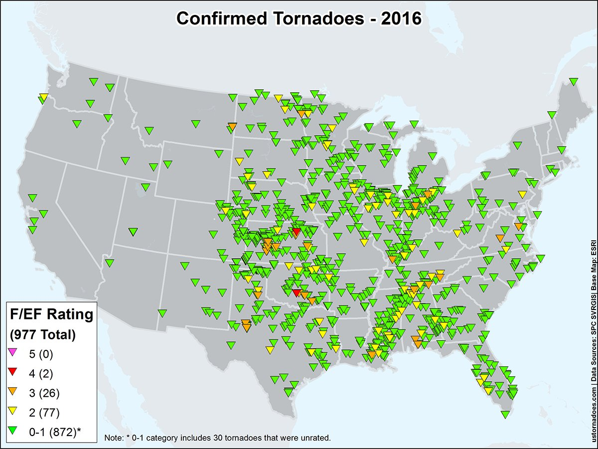 US Tornadoes on Twitter Heres the 2016 tornado touchdown map