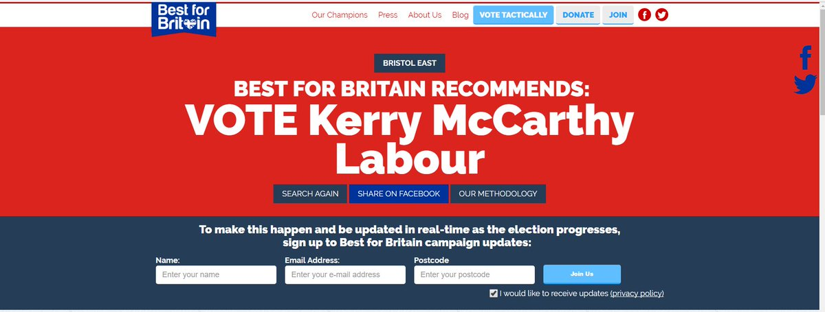 Vote for @KerryMP in #Bristol East want to know who your #tactical #vote rec take a look  http:// bestforbritain.org/vote-smart  &nbsp;   #votesmart @bristoleastlab<br>http://pic.twitter.com/PAtxZcCGID