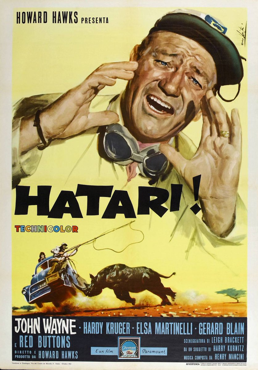 Italian poster for &quot;Hatari!&quot; - 1962 by #EnzoNistri #JohnWayne <br>http://pic.twitter.com/Oz2fVqTIpI