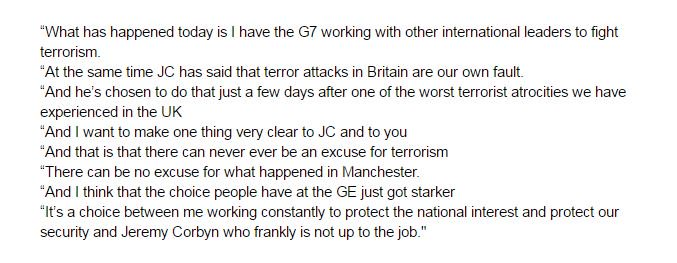 Here are the blistering May words on Corbyn's terror speech in full: