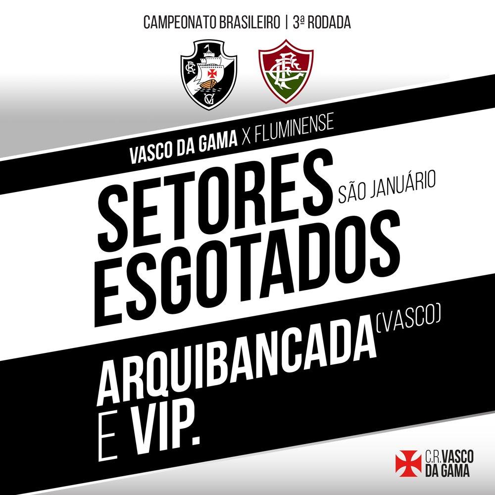 O CALDEIRÃO VAI FERVER! Ingressos esgotados para Arquibancada (Vasco) e Setor VIP: https://t.co/UMSx5nOPE0
