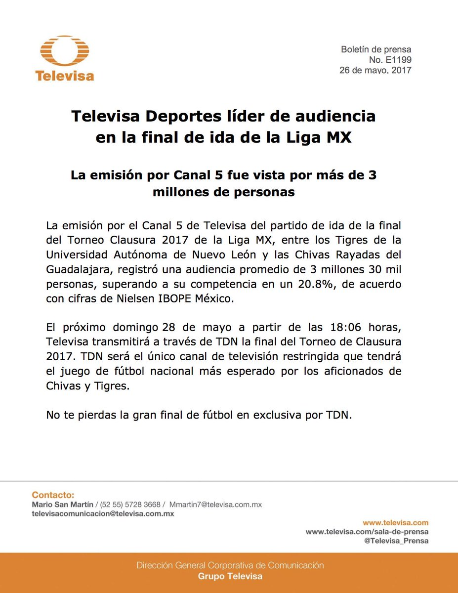 Televisa Deportes, líder de audiencia en la final de ida de la #LigaMX https://t.co/vCrocMmZWg https://t.co/ZHhL49aWsO