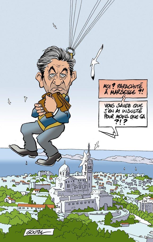 """#BFM """"#Melenchon joue le parisien à Marseille, c'est une connerie"""" Il dit aux marseillais qu'il parlera d'eux à PARIS pas sûr qu'ils aiment pic.twitter.com/CvYtt51Epu"""