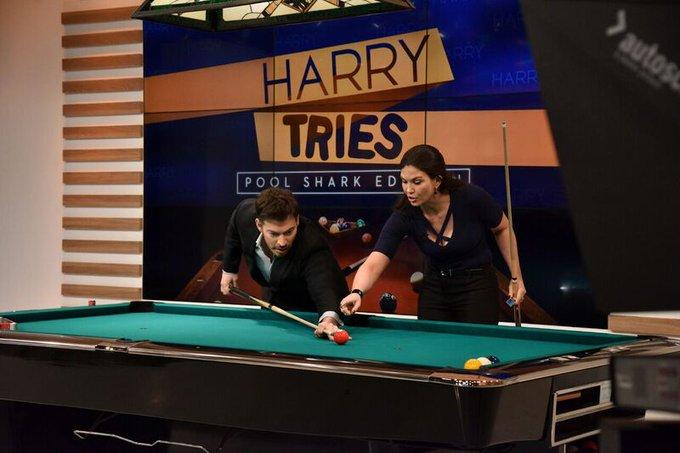 TODAY at 2, #HarryTries #Billiards with National Pool League champion & Women's  Roo#Billiardkie of the Year !  @EDuddyBombshell#HarryTV