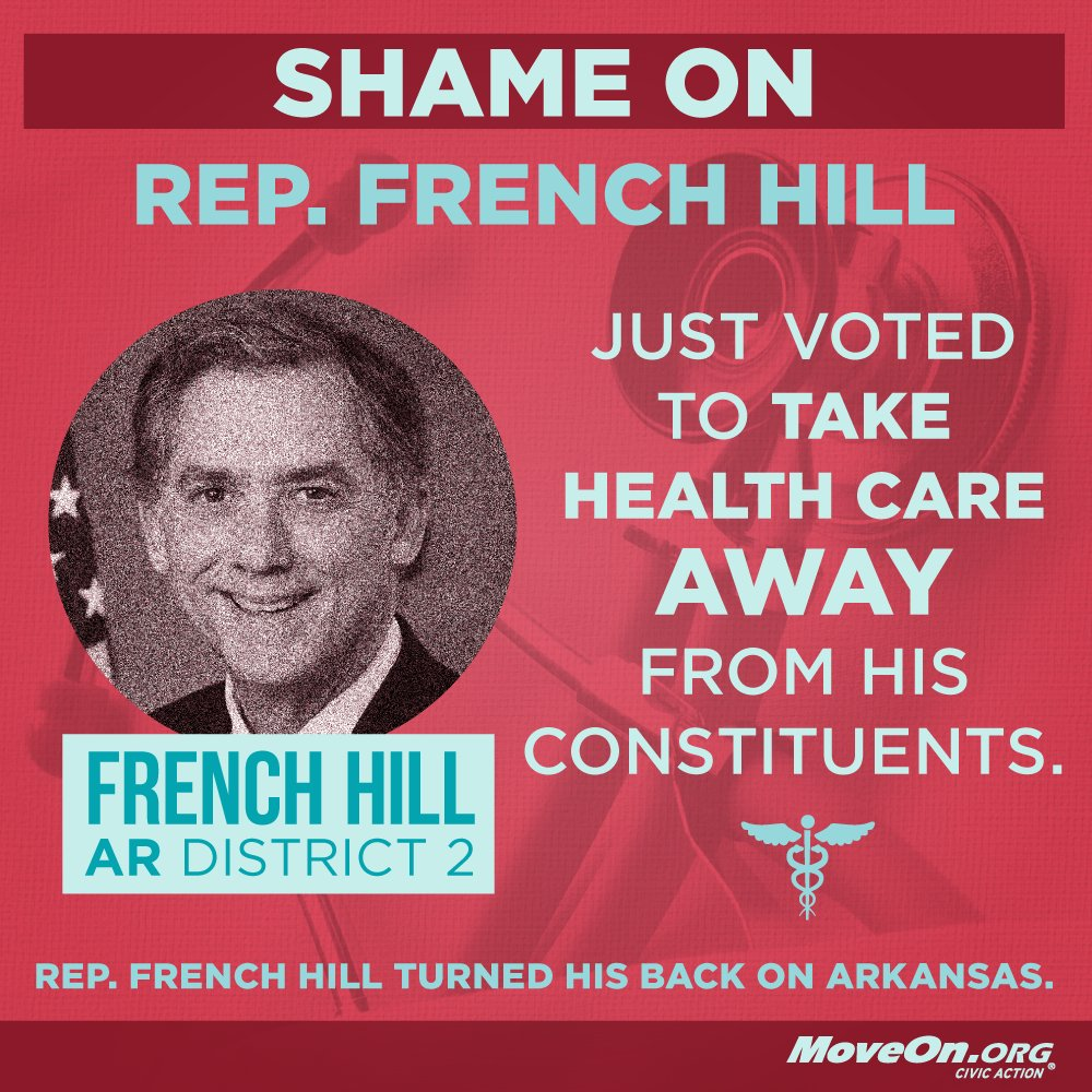 #AR\'s @RepFrenchHill put @realdonaldtrump before Arkansas. Plan to send him home in #2018 #LetUsLive
