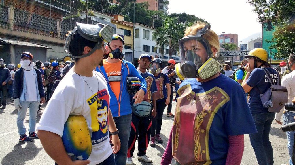 Vertreter der Opposition beim Protest in Venezuela