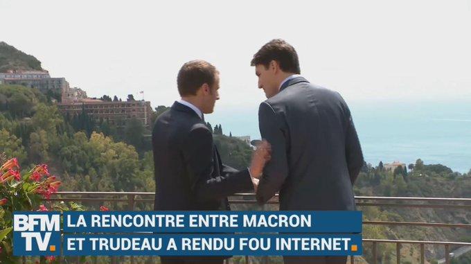 Les images de 'bromance' entre Emmanuel Macron et Justin Trudeau ont séduit les internautes