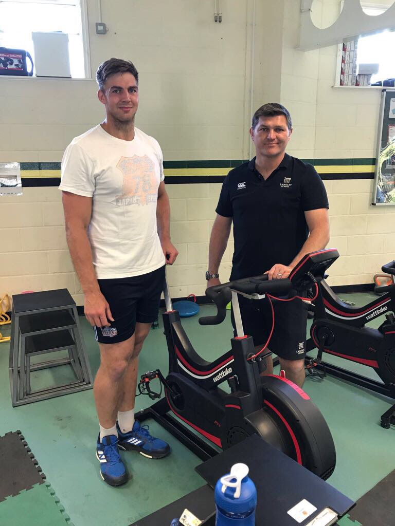 Great to see old boy Toby Salmon in the Langley gym for an @wattbike session in prep for starting his pro-contract @ExeterChiefs 🏉Big lad!!!