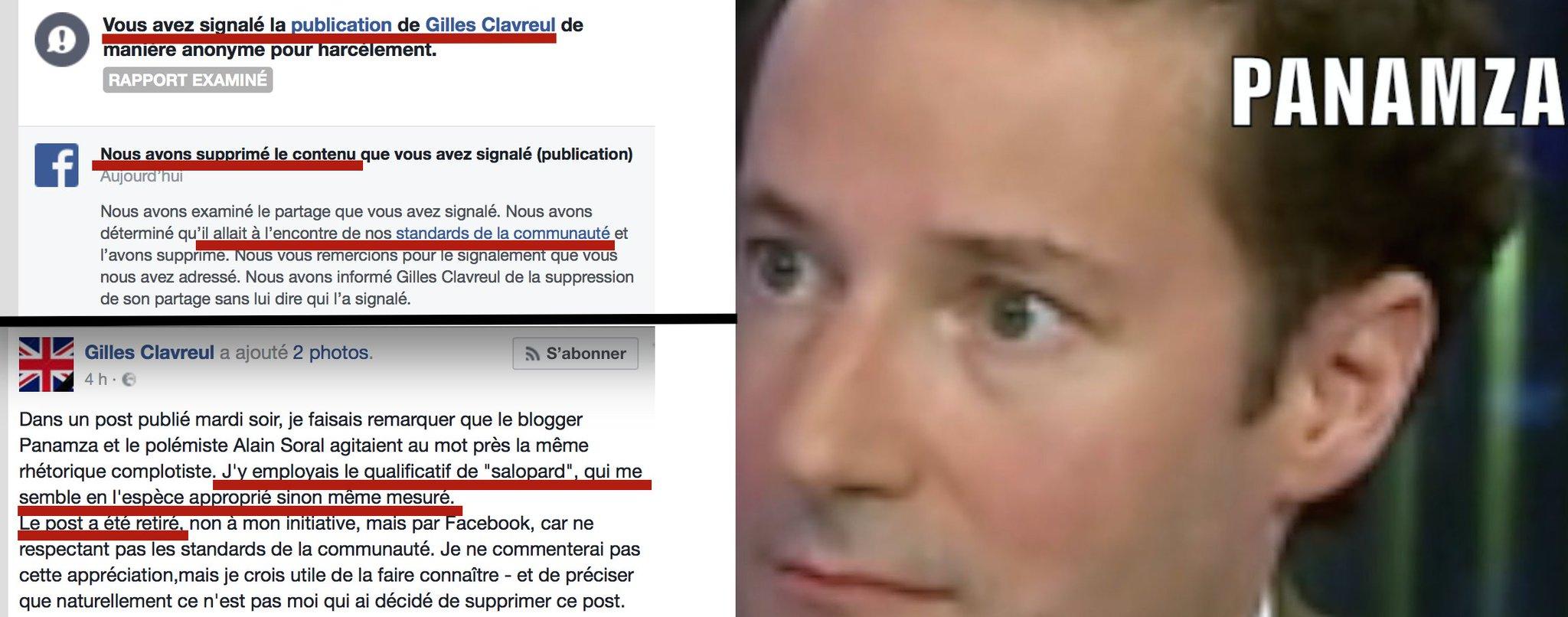 Clavreul humilié par Panamza : Facebook supprime son post injurieux après mon signalement😂