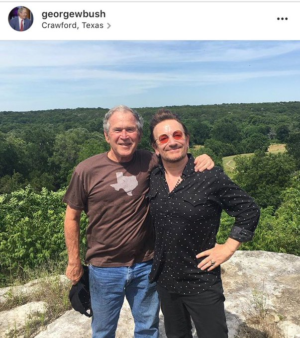 President George W. Bush and Bono are hanging out on Bush's ranch right now. Bush says he's 'the real deal'