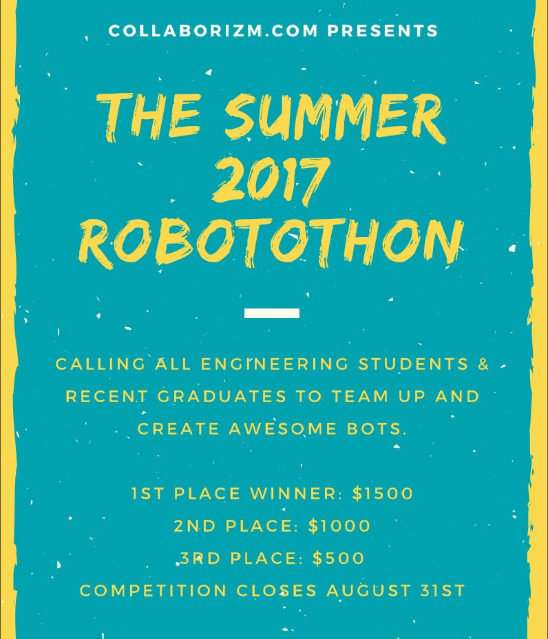 http:// buff.ly/2s4N5PT  &nbsp;   New #Hackathon Here #robotics #robowars #india #tech #technology #arduino #raspberrypi #newhackathon #geek #kontaku<br>http://pic.twitter.com/IROPF4a8xI