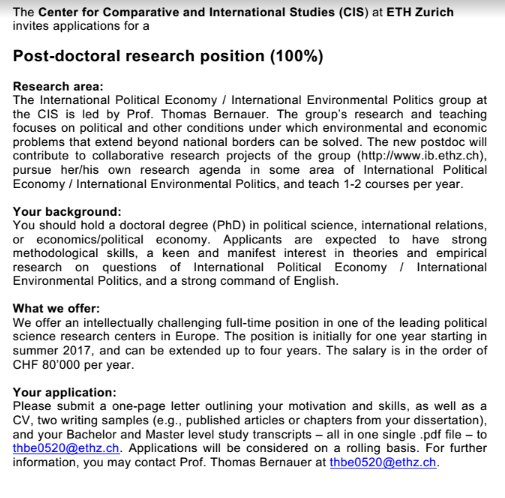 #CfA: ETH Zurich seeking 2 #postdoc positions in #politicalscience or related disciplines with a focus on #environmental &amp; resource #policy<br>http://pic.twitter.com/MOCc1GK0Xc