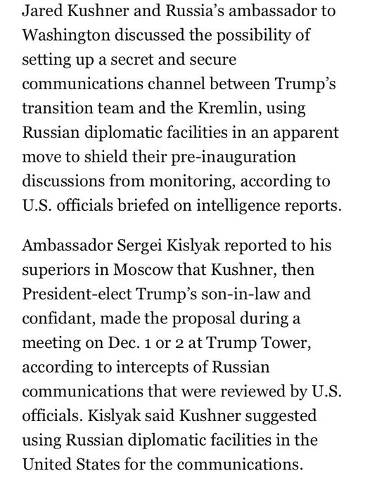 KUSHNER proposed secret communications channel to Kremlin in meeting with KISLYAK https://t.co/E004uK4kSV