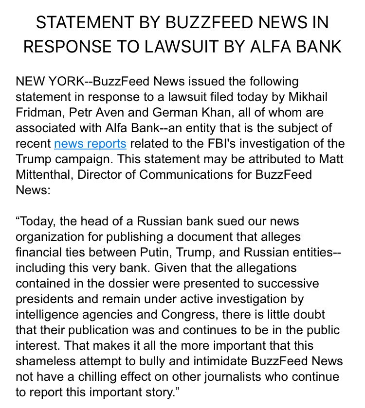 I hope you will read our response to the outrageous attempt by a Russian oligarch to bully the American media https://t.co/vUmf2hfshf