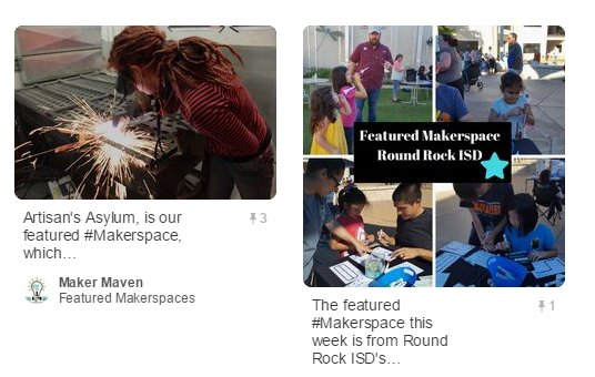 Head over to our Pinterest page where we have a new board featuring all of our Featured Makerspaces!  http:// ow.ly/qtok30bH4Ui  &nbsp;   #edchat #tlchat <br>http://pic.twitter.com/fMcBWAJx5B