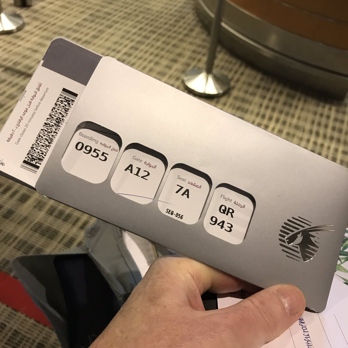 Analog design delight! Look at this @qatarairways boarding pass sleeve. It removes all nonessential info. https://t.co/vRYcQofrJo