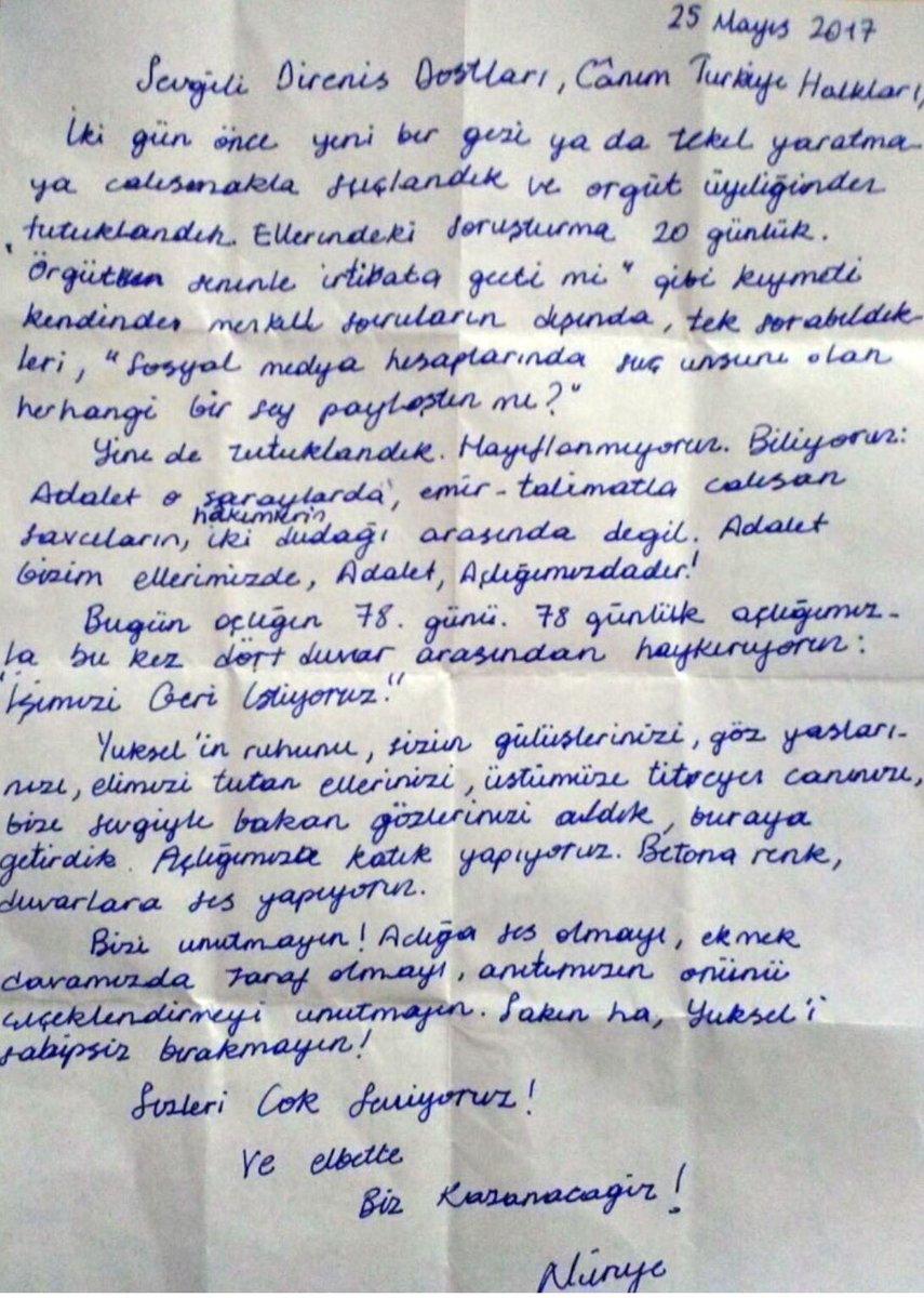Türkiye'nin James Meredith'i, Rosa Park'ı Nuriye Gülmen'den mektup var...