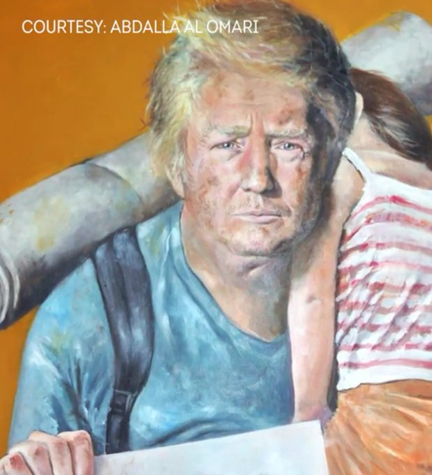 IMAGE: Syrian artist's portrayal of President Trump as a refugee