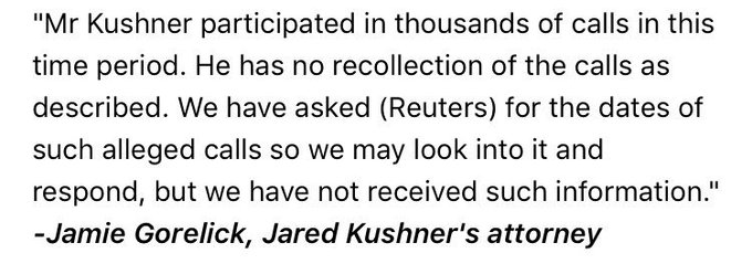 Kushner attorney responds to Reuters story that he had undisclosed contacts with Russian ambassador