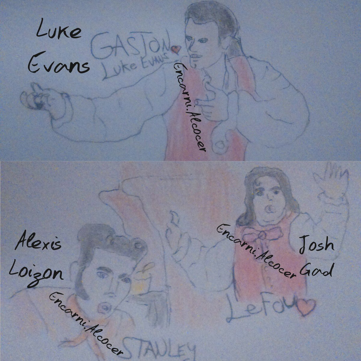 My new drawing of #Gaston, #LeFou and #Stanley in the tavern,part of the musket, I hope you like it @TheRealLukevans @joshgad @AlexisLoizon<br>http://pic.twitter.com/j2ahkY77MP