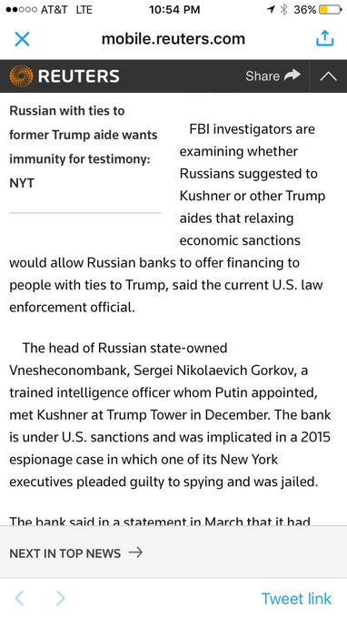 This is big. Possibility Russians implied a deal: drop sanctions & Russian banks can lend to people with Trump ties.