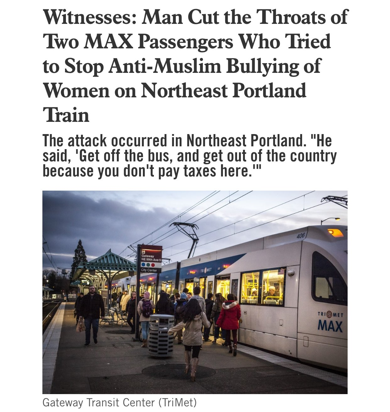 Image result for portland; stabbing; commuter train; max train; images;