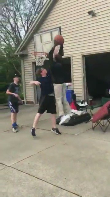 LeBron's son, Bronny, saw these kids playing basketball outside and decided to join (via zcoffey12/Instagram)