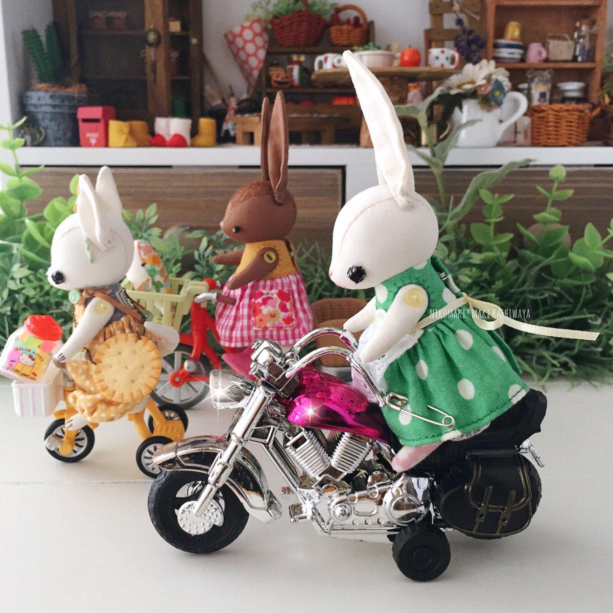 test ツイッターメディア - ??????? うさぎ、ハーレーみたいなバイクゲット(ナイスな補助輪付き) Usagi got a motorcycle (like Harley with training wheels)  バイクは #セリア のおもちゃです。色を塗ったりしても良さそう??? #100均 https://t.co/WZcbZsUG3T
