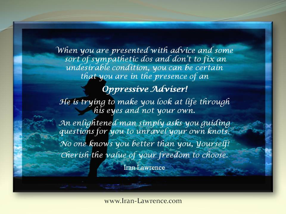 You can be certain that you are in the #presence of an #Oppression #Adviser if you are given dos and don&#39;ts. #Freedom #Choice<br>http://pic.twitter.com/1GUk2HSwGW