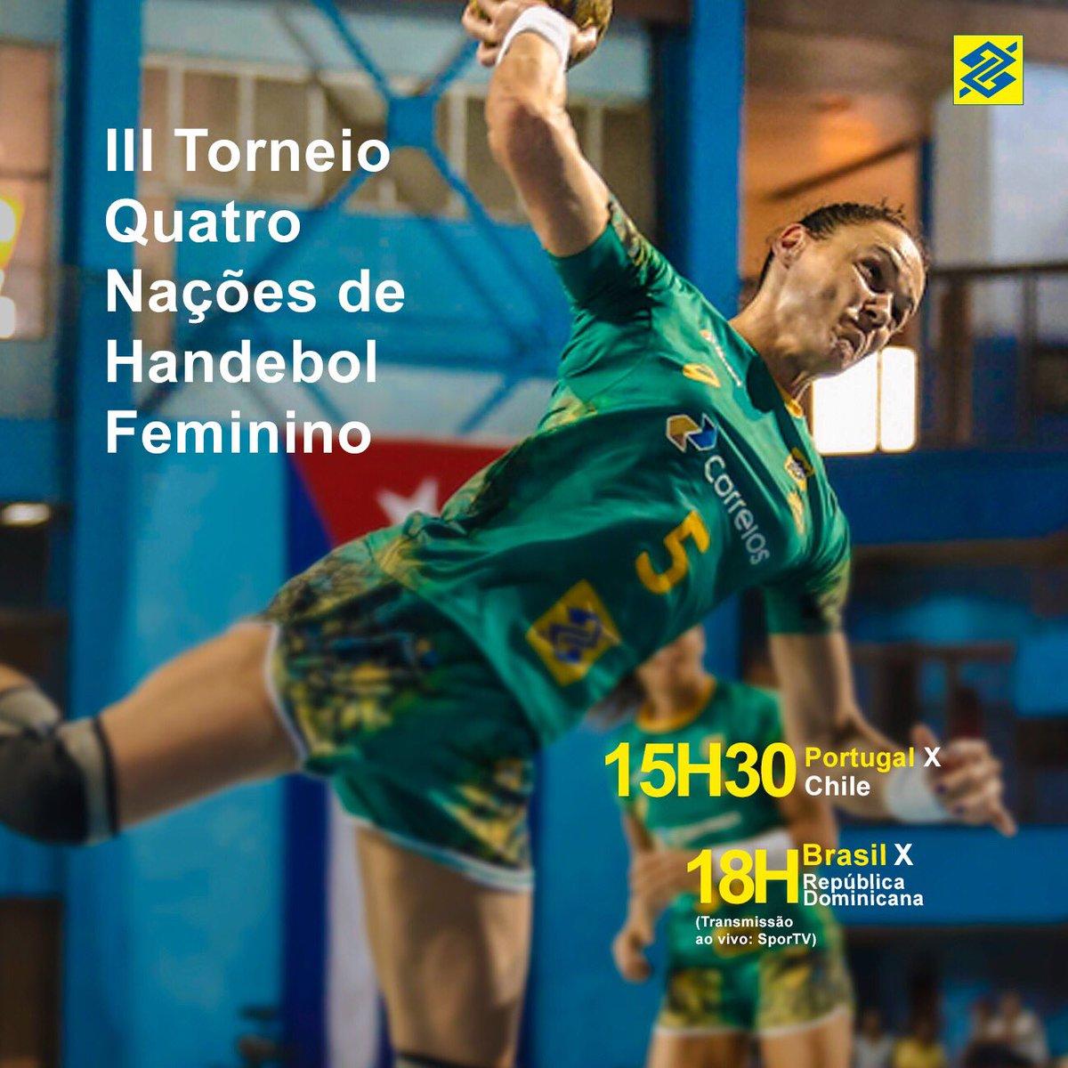 Hoje tem mais um desafio para as nossas meninas. Acompanhe ao vivo esse jogaço pelo canal SporTV. #TorcidaBrasil 🤾🏻🤾🏻🤾🏻 #4naçõesfemhand