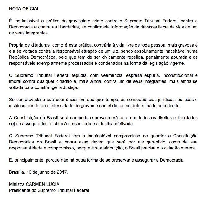 Cármen Lúcia, sobre alegada ação da ABIN sobre Fachin: inadmissível, gravíssimo crime contra STF, a democracia e liberdades, se confirmada: