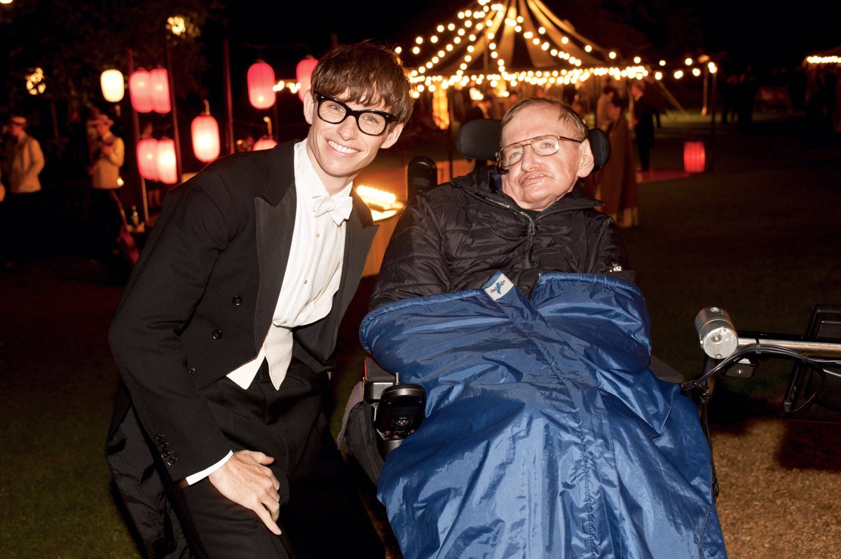 Eddie Redmayne and Stephen Hawking on the set of The Theory Of Everything (2014).