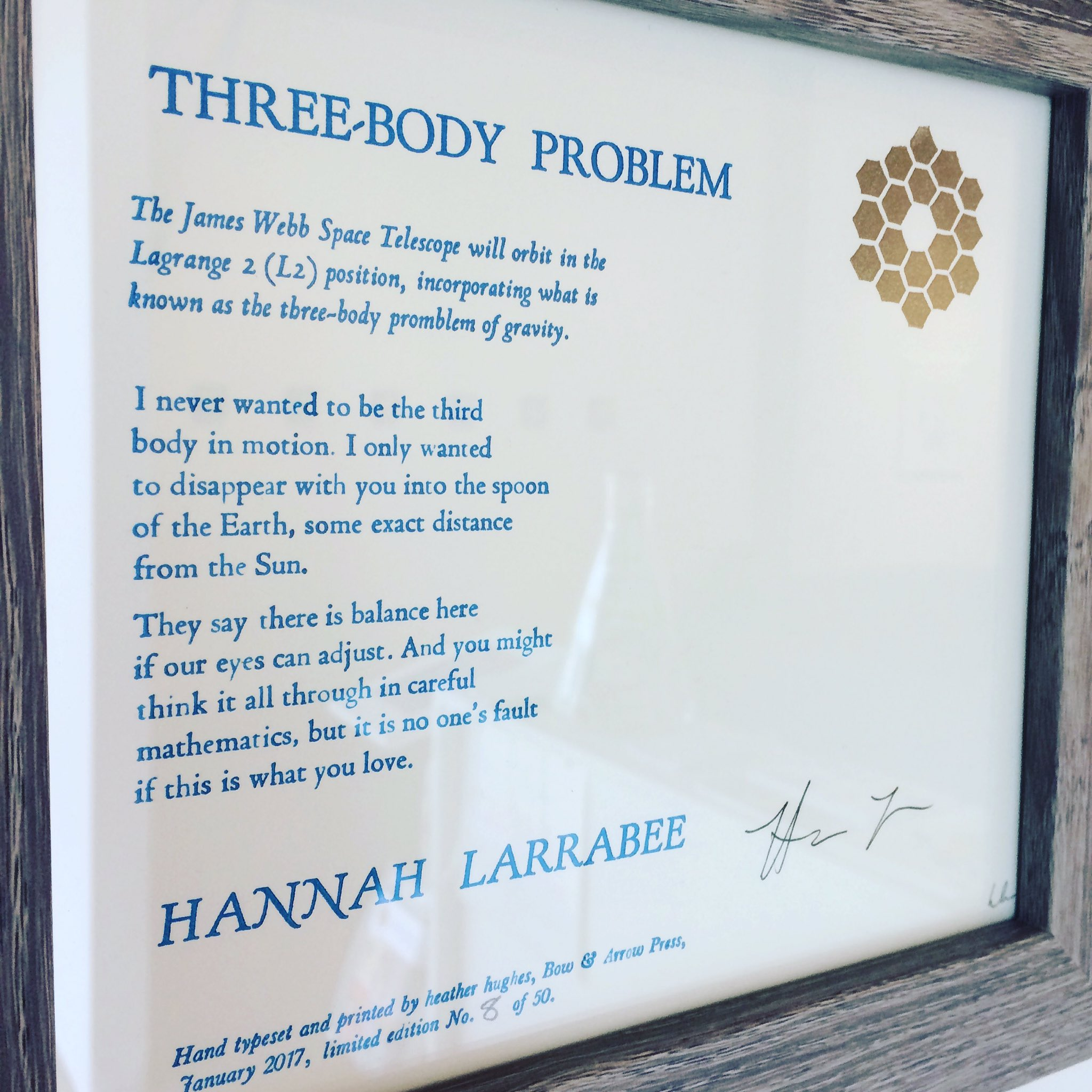 Three-Body Problem by Hannah Larrabee. On view 12-6pm today in our Far Out exhibit inspired by @nasawebb! #jwstart #jwst #aas230 #wiaiv https://t.co/d61jNEWdXZ