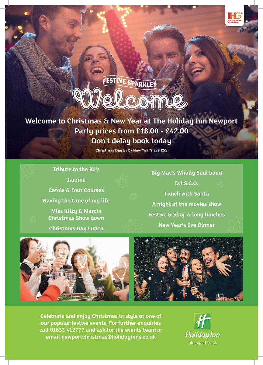 Book your Christmas Party today! 🎄🎅⭐ Celebrate the festive period in style at the Holiday Inn Newport! Call us on 01633 412777 for tickets! https://t.co/y8ORZ3nnGb