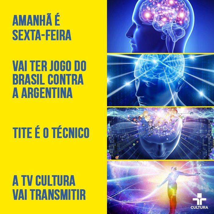 Um belo motivo para acordar cedo na sexta-feira!  Não perca o jogão entre Brasil e Argentina, a partir das 6h30, na #TVCultura.