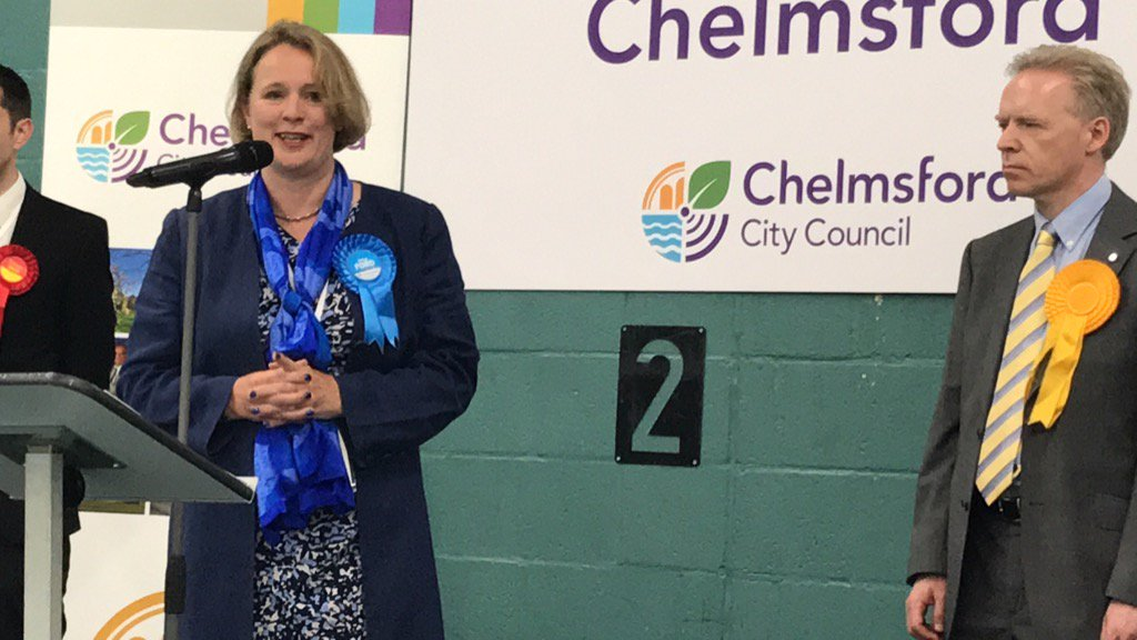 So proud to be elected to represent this wonderful City. Thank you #Chelmsford and my amazing team #GE2017