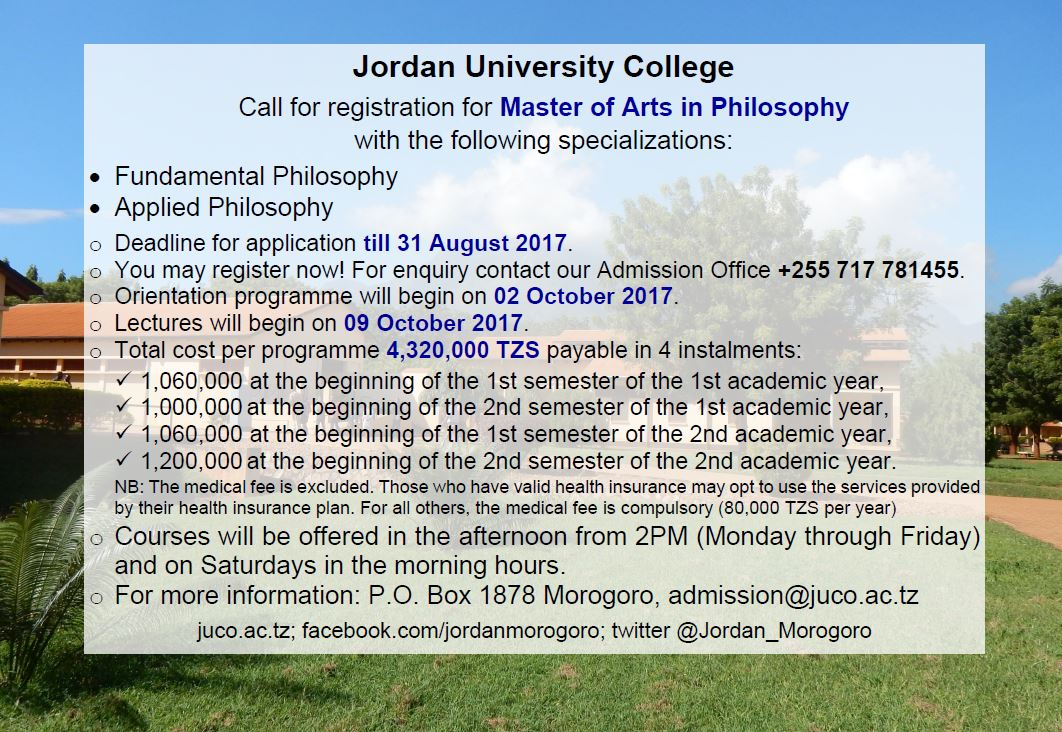 MA in Philosophy at Jordan University College #JUCO #Morogoro #Tanzania #GainWithXtianDela #masters #education #admission #MA #philosophy<br>http://pic.twitter.com/DSROlNJfOy