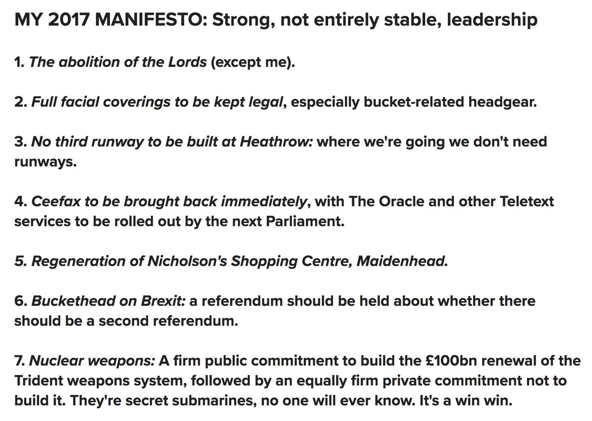 Oh my god Lord Buckethead's political manifesto I'm screaming