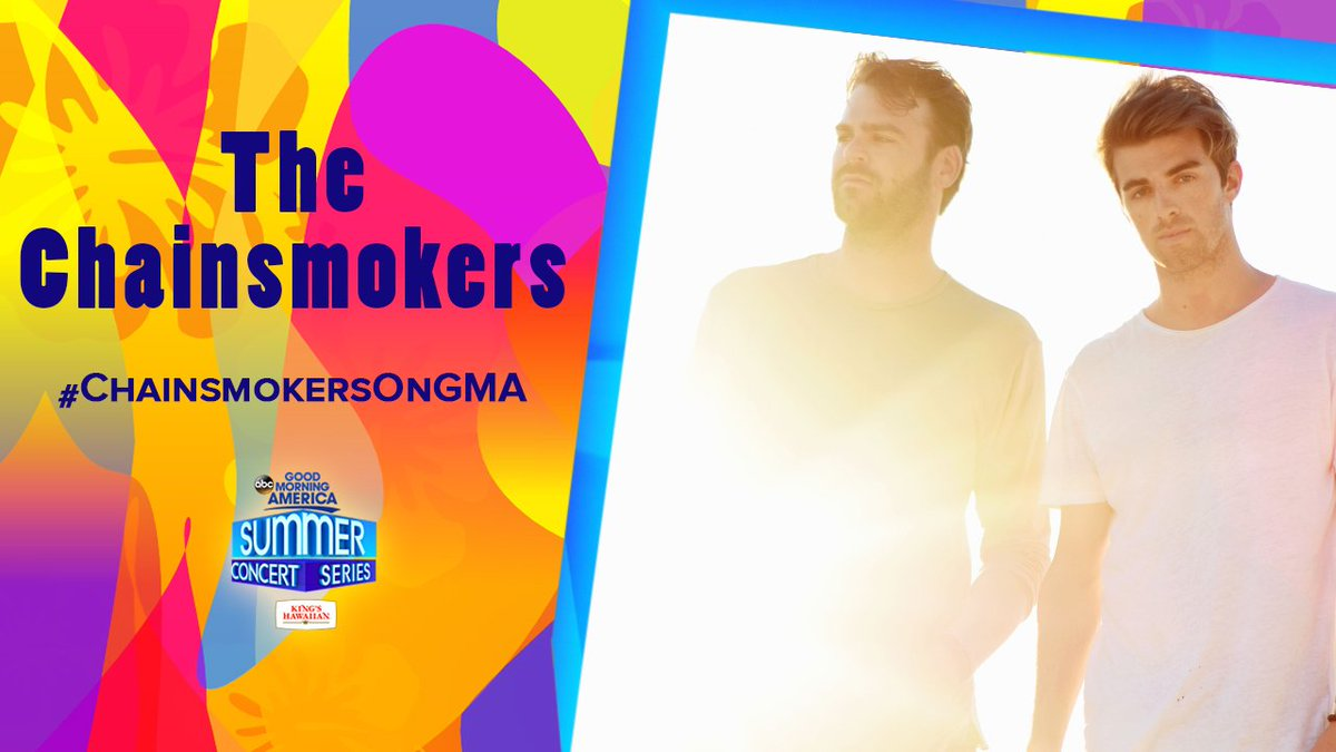 COMING UP ON @GMA: @TheChainsmokers perform LIVE in the Park for the Summer Concert Series!   #ChainsmokersOnGMA <br>http://pic.twitter.com/jvzgtFFZHk